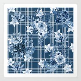 Elegant Blue Floral Plaid Art Print