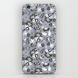 Victorian floral | slate gray iPhone Skin