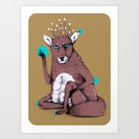 reindeer Art Prints featuring Reindeer by Skeeneart