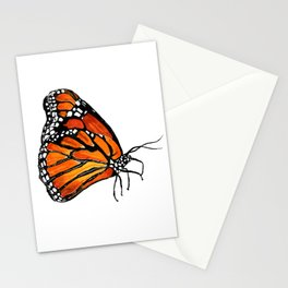 Watercolor Monarch Butterfly in Flight Stationery Cards