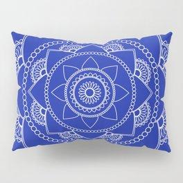 Mandala 01 - White on Royal Blue Pillow Sham