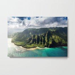 Na Pali Coast Aerial of Kauai Hawaii Metal Print