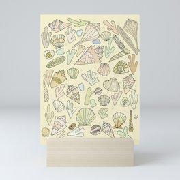 sea shells by the seashore treasures from the sea // retro surf art by surfy birdy Mini Art Print