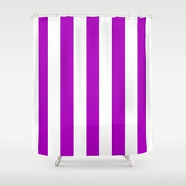 Heliotrope magenta violet - solid color - white vertical lines pattern Shower Curtain