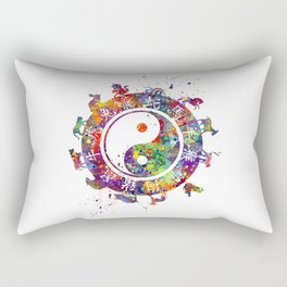 Zodiac Wheel Art Astrology Gift Yin Yang Symbol Art Rectangular Pillow
