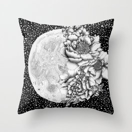 Moon Abloom Throw Pillow