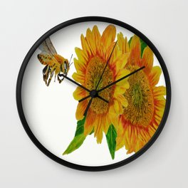 Summer Bee Yellow Sunflower Painting Wall Clock