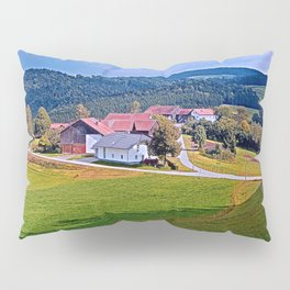 Small village skyline with cloudy sky | landscape photography Pillow Sham