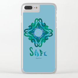 "SAFE Mandala with ""SAFE"" - Blue Green Clear iPhone Case"