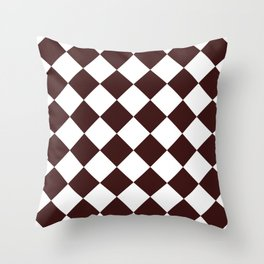 Large Diamonds - White and Dark Sienna Brown Throw Pillow