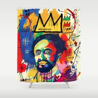 basquiat Shower Curtains featuring Selassie Basquiat by qlion