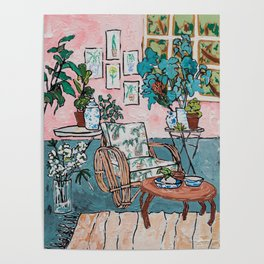 Rattan Chair in Jungle Room Poster