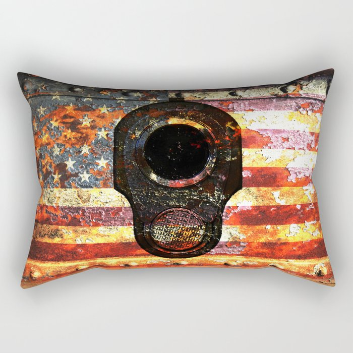 M1911 Colt 45 On Rusted American Flag Rectangular Pillow