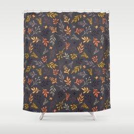 Autumn leaves orange gold gray purple pattern Shower Curtain