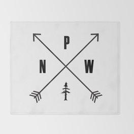 PNW Pacific Northwest Compass - Black on White Minimal Throw Blanket
