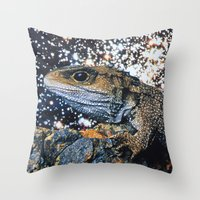 lizard Throw Pillows featuring Lizard by John Turck