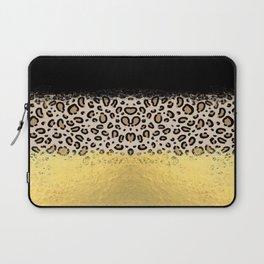 Wilder - black gold foil cheetah print animal pattern spots dots bold modern design sparkle glitter Laptop Sleeve