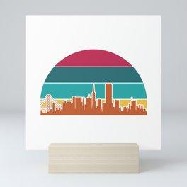 US San Francisco Cityscape Retro Sunset gifts 2021 Mini Art Print