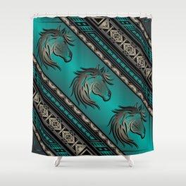 Horse Nation (Aqua) Shower Curtain