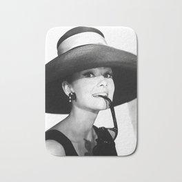 Audrey Hepburn Portrait, Black and White Vintage  Bath Mat