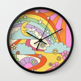retro hippie boho print  Wall Clock