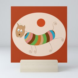 Sausage Dog In Ketchup Sunset Mini Art Print