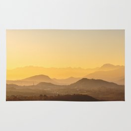 colorful autumn sunset in the italian countryside Rug
