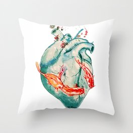 Koi heart Throw Pillow