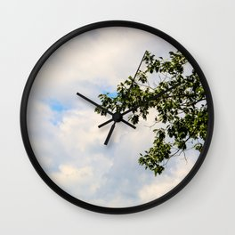 Gentle Tree Grazes Cloudy Sky Wall Clock