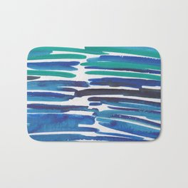 18  |  190408 Blue Abstract Watercolour Bath Mat