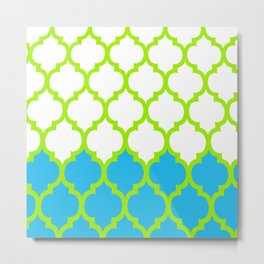Moroccan Green and Blue Metal Print