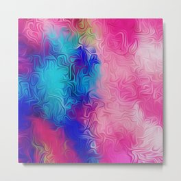 pink blue and green painting abstract background Metal Print