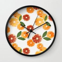 sliced oranges spring watercolor Wall Clock