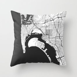 San Diego Map Gray Throw Pillow