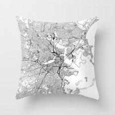 Boston White Map Throw Pillow