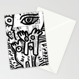 Creatures Graffiti Black and White on French Train Ticket Stationery Cards