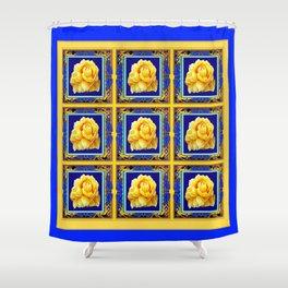 BLUE FRAMED YELLOW YELLOW GARDEN FLOWERS ART Shower Curtain