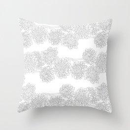 Butterfly Blue Flower Pattern Throw Pillow
