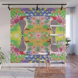 Robin with flowers kaleidoscope Wall Mural
