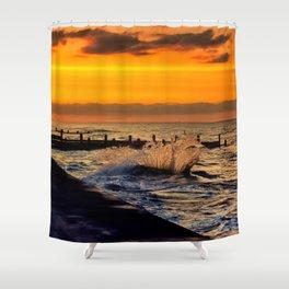 Ocean sunset at walcott Shower Curtain