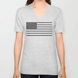 National flag of the USA, B&W version Unisex V-Neck