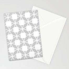 Geometric Orbital Spot Circles In Pastel Grey & White Stationery Cards