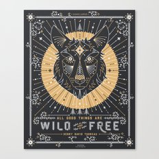 Wild & Free Wolf – Gold & Grey Canvas Print