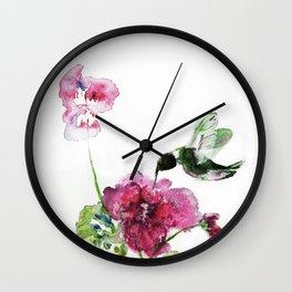 Razzberry Hummingbird watercolour by CheyAnne Sexton Wall Clock