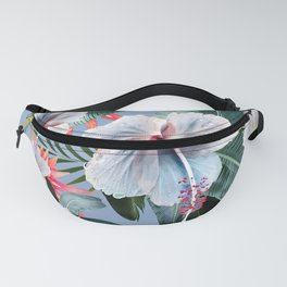 Hawaii, tropical hibiscus vintage style blue dream palm leaves Fanny Pack