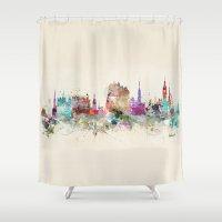 scotland Shower Curtains featuring edinburgh scotland by bri.buckley