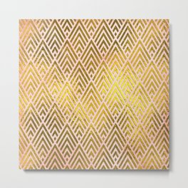 Gold foil triangles on pink - Elegant and luxury triangle pattern Metal Print