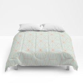 Geometry art decó in blue and orange Comforters