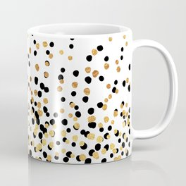 Floating Dots - Black and Gold on White Coffee Mug