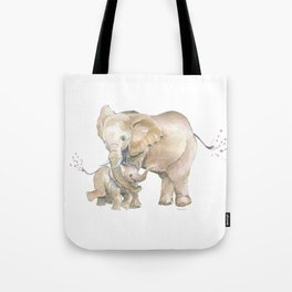 Mother's Love - Elephant Family Tote Bag